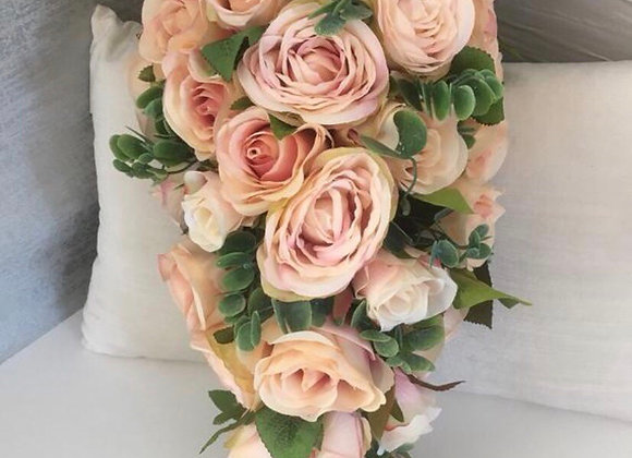 Vintage Blush Pink Bridal Teardrop Bouquet