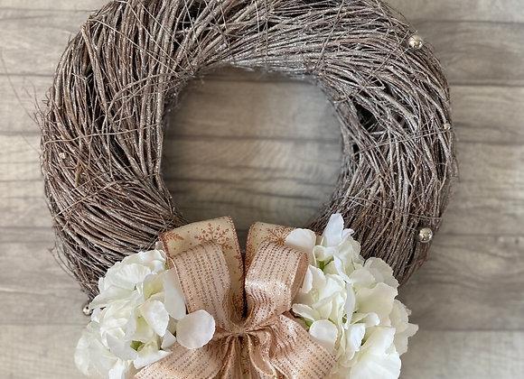 Beautiful glittered wicker Christmas door wreath