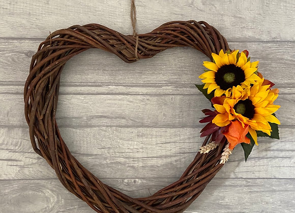 Autumnal Wicker Heart Door Wreath with Sunflowers