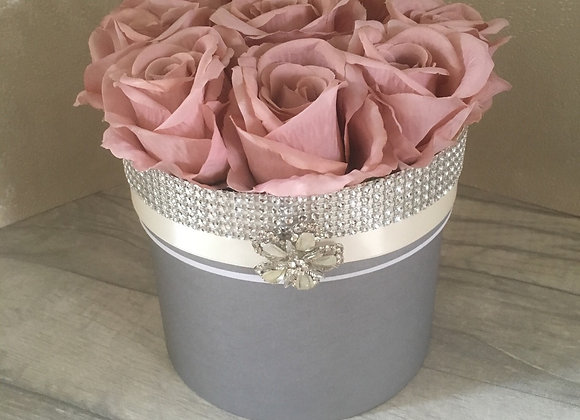 Secret Storage Rose Box - Dusky Pink & Grey