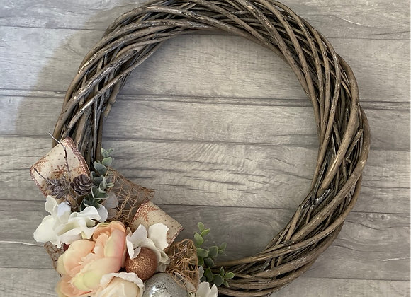 Blush, Rose Gold and Silver Willow Christmas Wreath