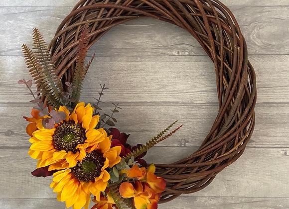 Autumn Wreath With Sunflowers