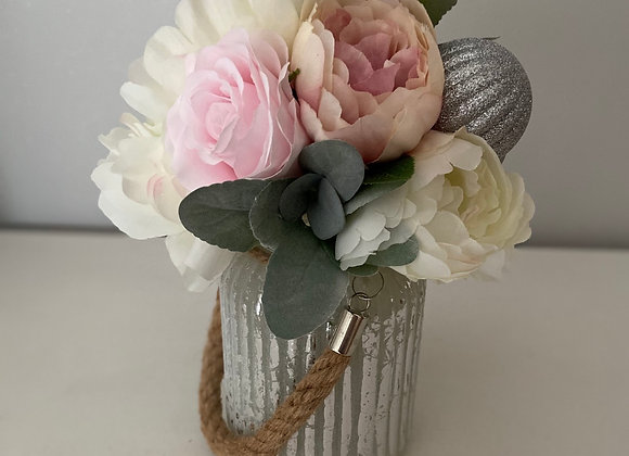 Christmas vase with blush and ivory blooms