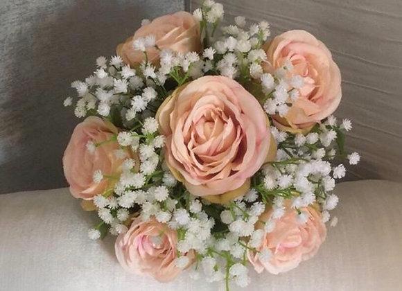 Bridesmaid/ Flower Girl Posy of Vintage Blush Roses and Gypsophila