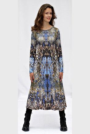 blaufarbiges Jerseykleid mit eigenem Stoffdruck LYRELLE_71