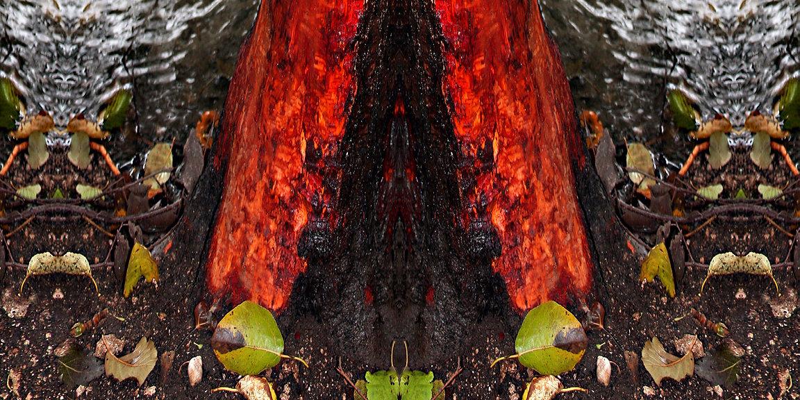 rot-braun-buntes Jerseykleid NADEYA mit künstlerischem Stoffdruck