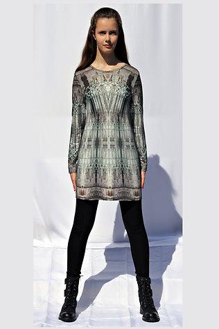 steingrau-türkisfarbenes Longshirt mit eigenem Stoffdruck LEVIOSA_65