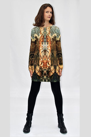 braun-buntes Longshirt mit eigenem Stoffdruck KYELIE_27