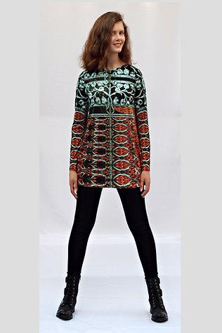 türkis-rostfarbenes Longshirt mit eigenem Stoffdruck AKAELA_88