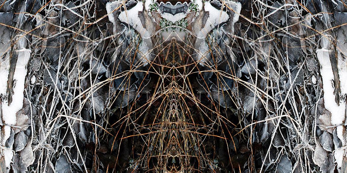 braun-weißes Longshirt QUELARA mit künstlerischem Stoffdruck