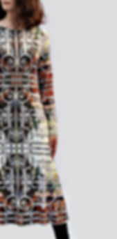 langes Jerseykleid HAYNOKII mit künstlerischem Stoffdruck