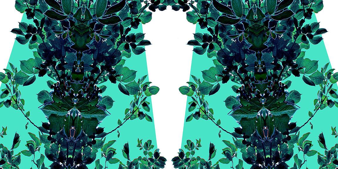 grü-weißes Jerseykleid ROXANI mit künstlerischem Stoffdruck