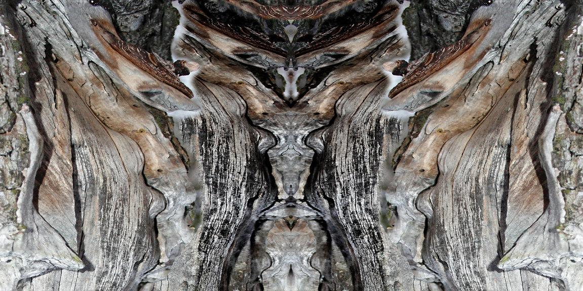 anthrazit-braunes Longshirt mit künstlerischem Stoffdruck