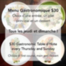 Menu Gastronomique $30