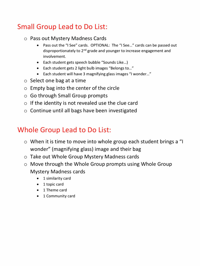Small and Whole Group Instructions