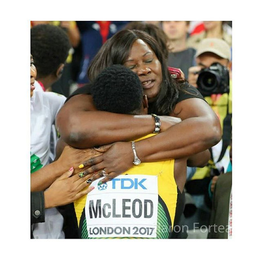 Jamaican 100m hurdles athlete Omar Mcleods Mother