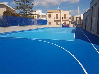Pavimento in quadrotte di PVC multisport Geoplast spa.- Scicli Sicilia.