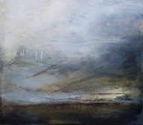 oil painting, abstract landscape painting, grey and copper painting. Abstract painting, abstract oil  From which I came.