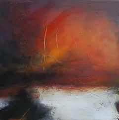 Oil painting. Jenny Fox. orange and black painting. dramatic painting. abstract painting. abstract landscape.Songs we used to sing.