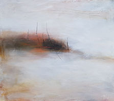Oil painting. abstract landscape. abstract painting. Jenny Fox. orange and white painting.It stood barely present.