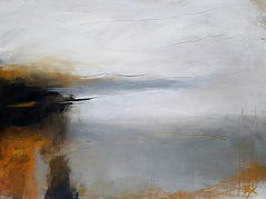 Jenny Fox. Oil Painting, Abstract painting, abstract landscape, yellow and grey and white painting.For a minute I lost myself.