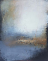Oil painting. white and blue painting. yellow paintingThe places in between.