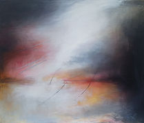 Abstract expressionism, abstract painting, oil painting, abstract landscape, abstract seascape. Jenny Fox.High hopes and thin air.
