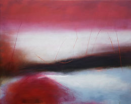 Oil painting.Jenny Fox. Abstract painting. abstract landscape. pink and white painting.A while ago somewhere.