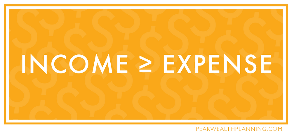 Your income must be equal to or greater than your expenses.