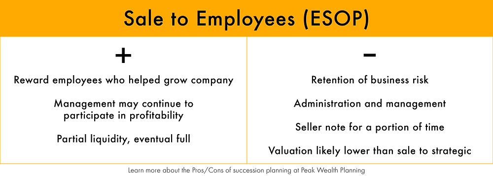 Compare the pros and cons of selling your business to your employees with an ESOP plan.