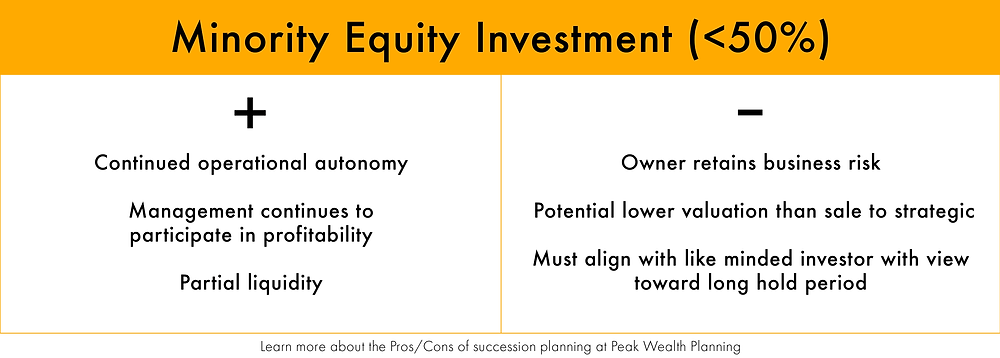 Compare the pros and cons of selling your business with a minority equity investment sale.