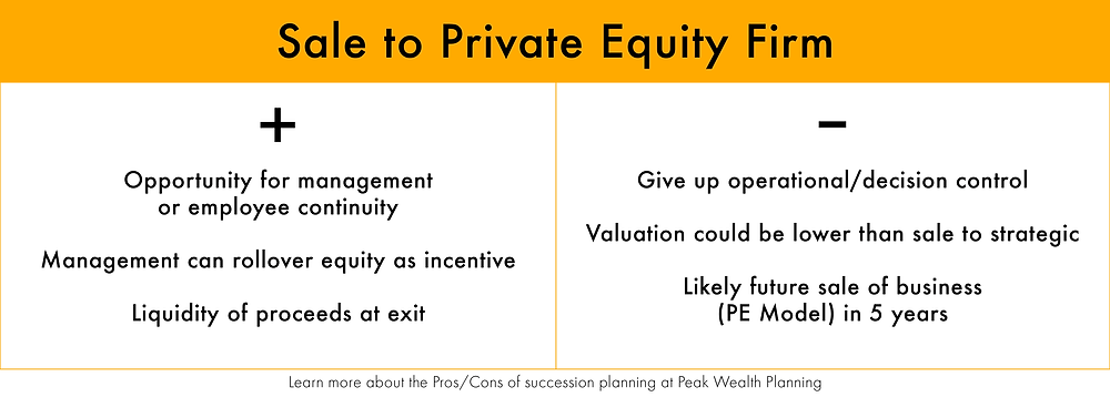 Compare the pros and cons of selling your business to a private equity firm.