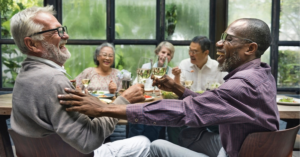 Enjoying friendships and wine during retirement.