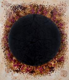 Untitled, 2018,  Rust, fower petals, acrylic on canvas  197 x 172 cm