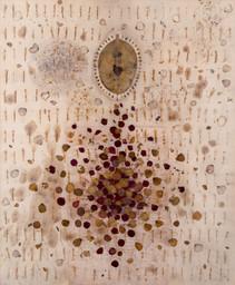 Untitled, 2018,  Rust, fower petals, acrylic on canvas  145 x 120 cm