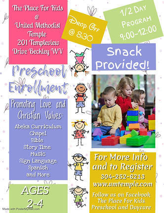 Preschool Enrollment - Made with PosterM