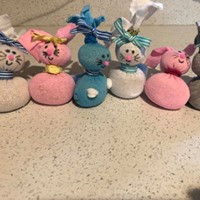 Easter fun. We made bunnies out of socks and scented (lavender) rice.