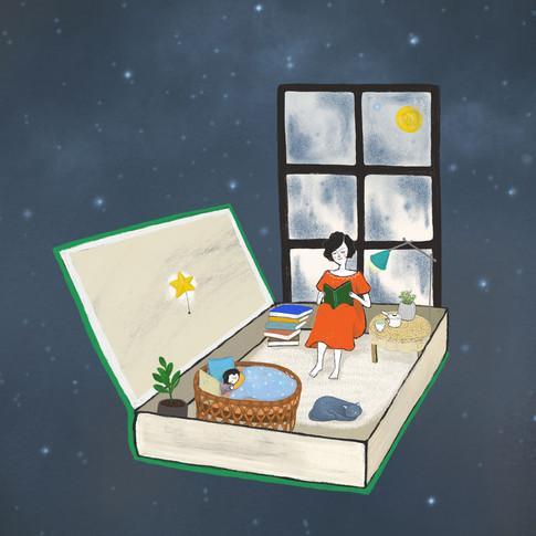 <엄마의 심야책방> 표지 일러스트 Book Cover illustration - Mom's midnight bookstore