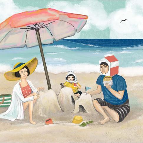 밀키베이비, 이삭토스트 비치타올 일러스트레이션 콜라보 ISAAC toast X MILKYBABY collaboration! 'Beach Towel illustration'
