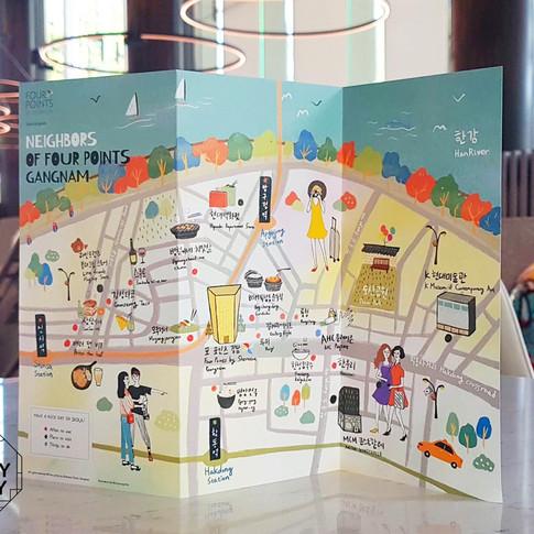 포 포인츠 쉐라톤 강남 주변 지역 지도 일러스트레이션 by 밀키베이비 Four Points Sheraton by Gangnam Guidemap illust by Milkybaby