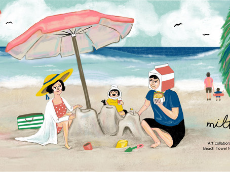 ISAAC toast X MILKYBABY collaboration! 'Beach Towel illustration'