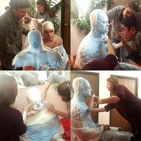 Lifecast application in alginate and plaster bandages