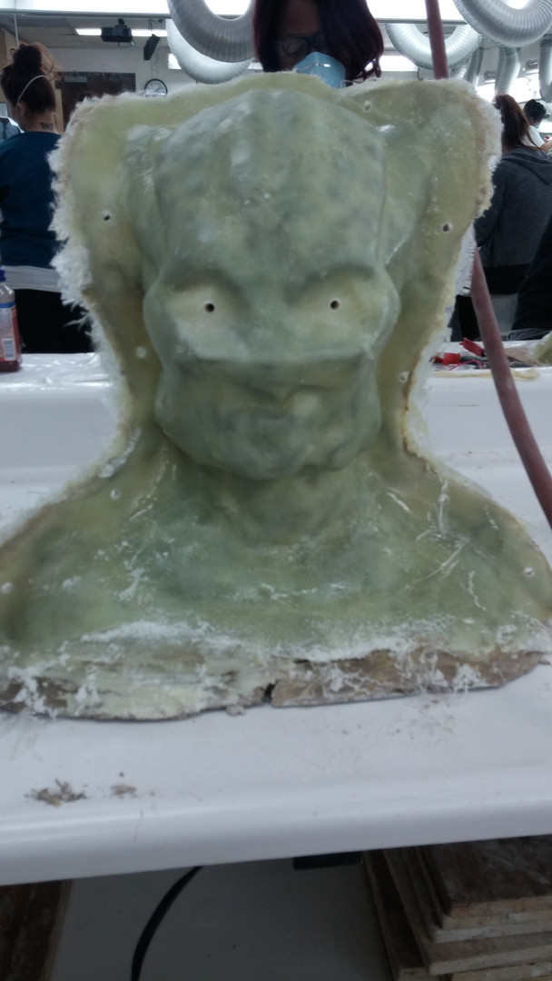 Final layer of fiberglass prior to cleaning edges
