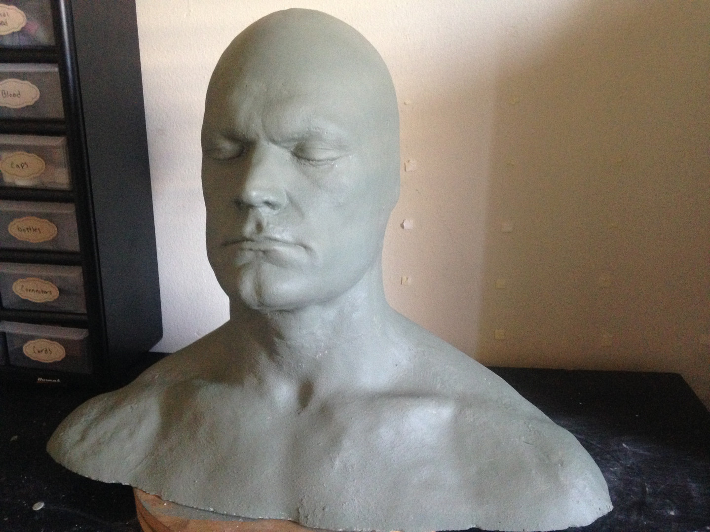 Ultracal lifecast, cleaned, detailed, and painted to prepare for sculpture