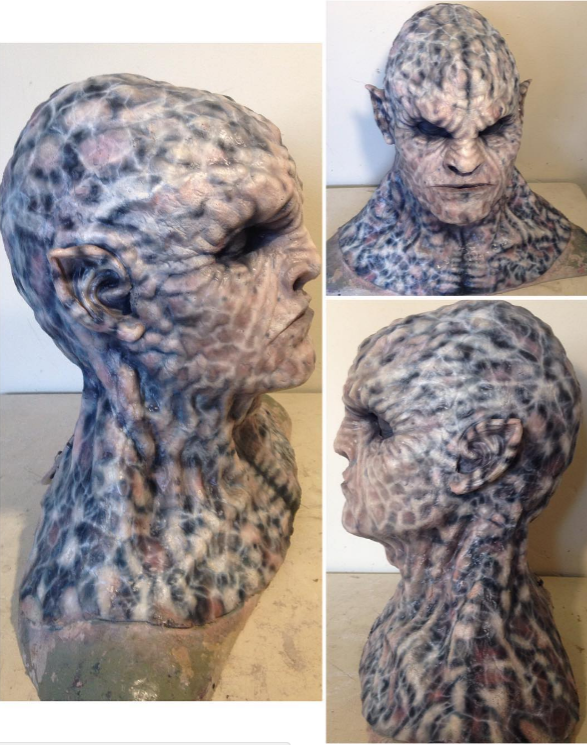 Silicone mask painted with acrylic ink