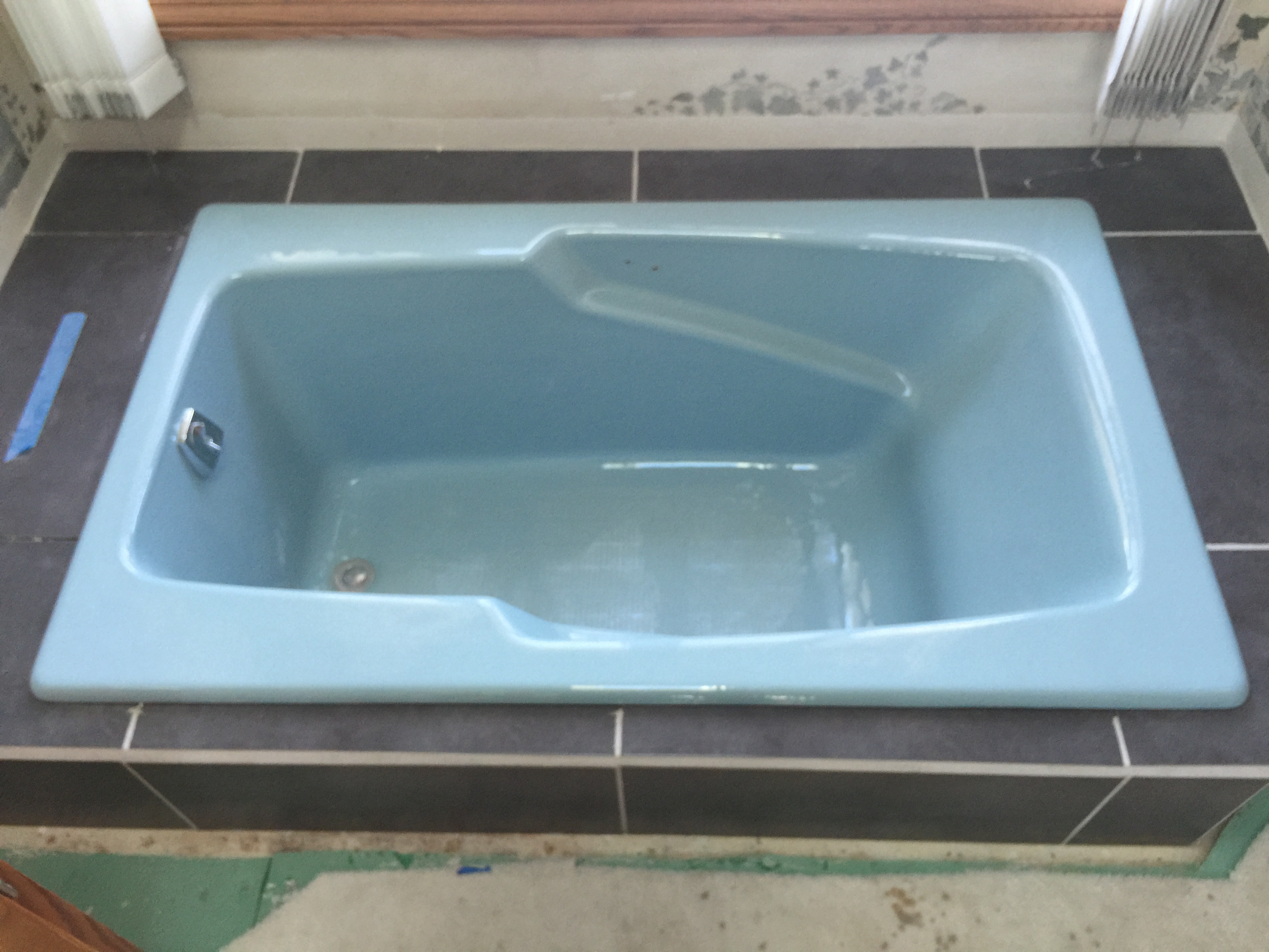 Soaker tub after new tile installed