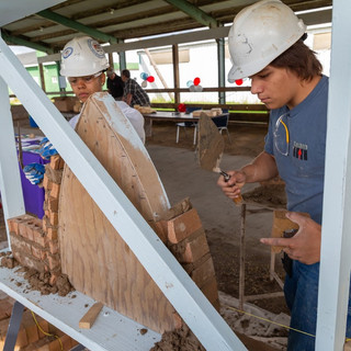Students Laying Brick