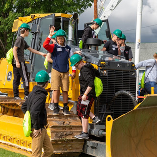 Students on Heavy Construction Equipment