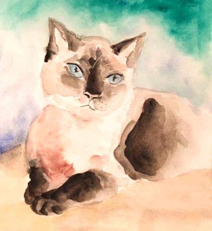 Watercolor _Puss__#paintingcats#watercol