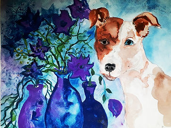 Flowers with dog portrait on rough paper
